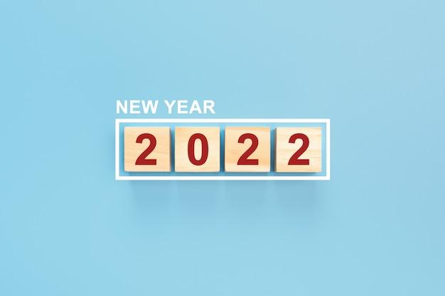 Feliz ano novo 2022, fundo azul, use forlanding page templatewebposterbanner