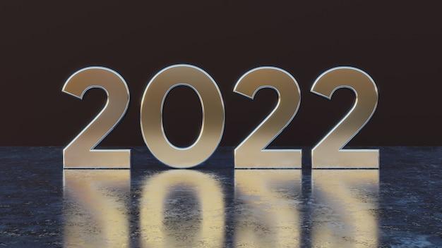 Feliz ano novo 2022, texto, efeito de metal, números 3d com fundo preto isolado para cartão de felicitações