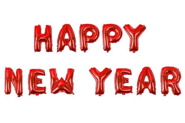 Feliz ano novo alfabeto inglês de balões em um fundo branco