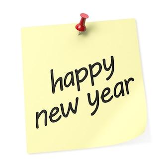 Feliz ano novo amarelo nota com alfinete vermelho. renderização 3d