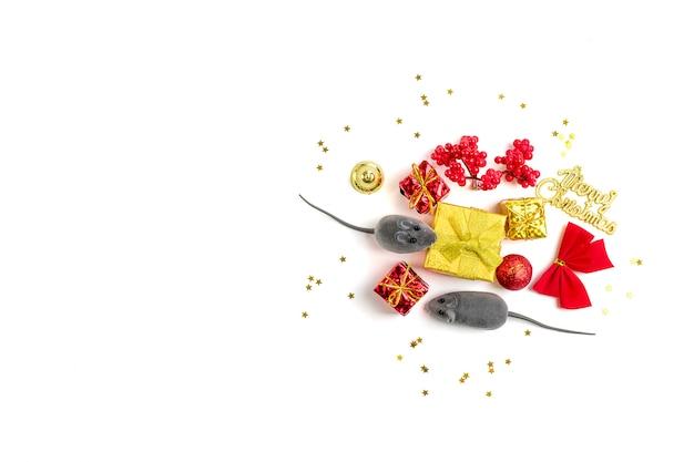 Feliz ano novo. ano do rato pelo calendário chinês plano leigos