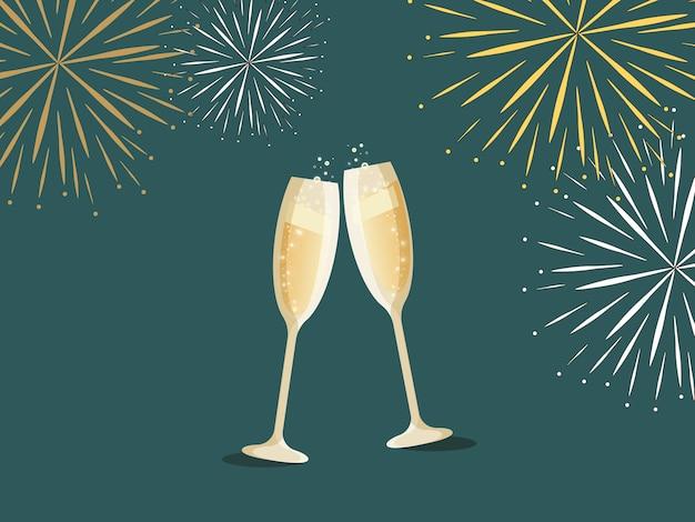 Feliz ano novo cartão duas taças de champanhe e fogos de artifício em um fundo escuro. conteúdo de férias