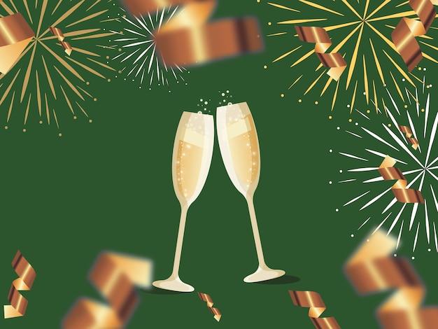 Feliz ano novo cartão duas taças de champanhe e fogos de artifício sobre um fundo verde. lugar para texto. conteúdo de férias