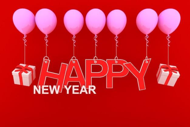 Feliz ano novo conceito com papel vermelho recortado e caixas de presente brancas e fitas vermelhas em balão rosa com fundo vermelho