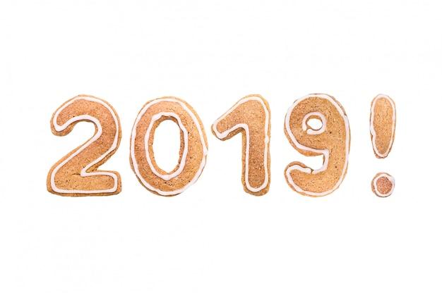 Feliz ano novo conjunto de números de biscoitos de gengibre.