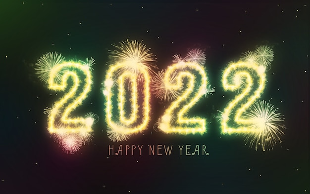 Feliz ano novo de 2022 fogos de artifício coloridos no fundo do céu