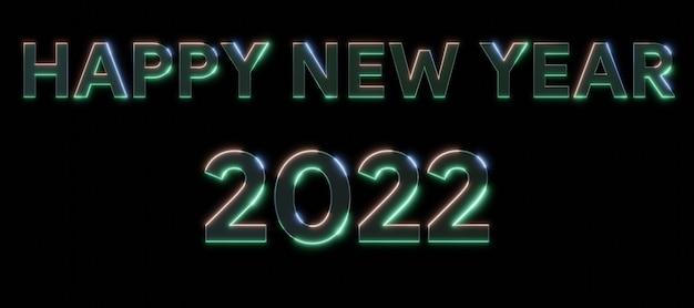 Feliz ano novo de 2022, texto neon metal, efeitos, 3d, números, com, pretas, isolado, fundo