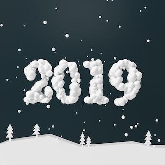 Feliz ano novo e feliz natal design números 2019