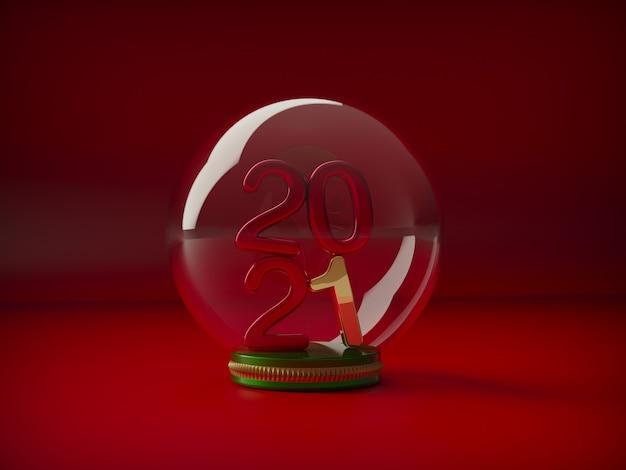Feliz ano novo, grandes números dourados arredondados dentro de uma bola de cristal.