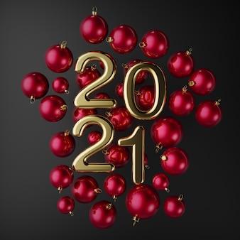 Feliz ano novo, grandes números dourados arredondados em um fundo de bolas vermelhas de natal, vista superior