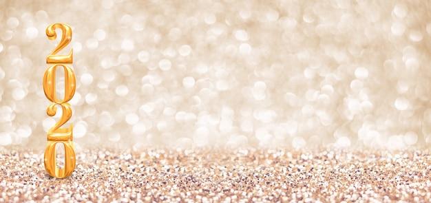 Feliz ano novo número de ouro do ano 2020 (renderização em 3d) no brilho dourado cintilante