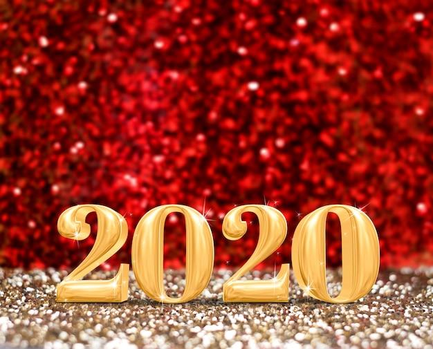 Feliz ano novo número do ano 2020 em ouro cintilante e glitter vermelho