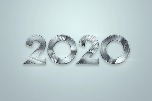 Feliz ano novo, números metálicos 2020 design sobre um fundo claro. feliz natal