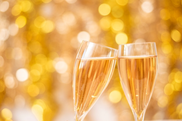 Feliz ano novo parede, ouro bokeh