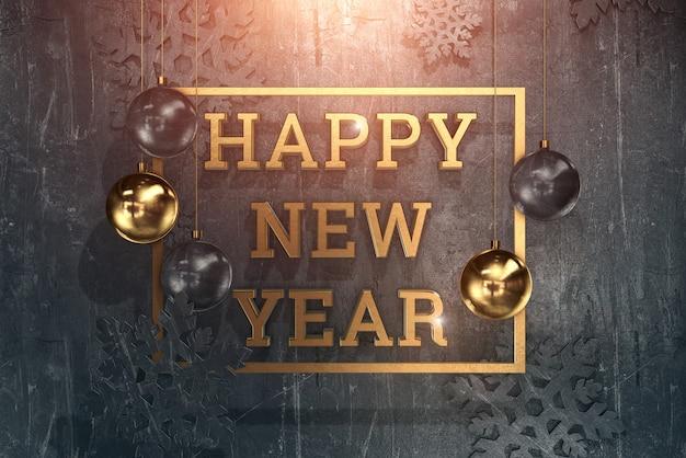 Feliz ano novo texto com bolas e decoração