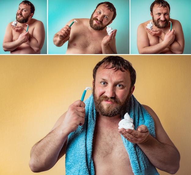 Feliz barbudo está pronto para raspar a barba. colagem de fotos definidas.