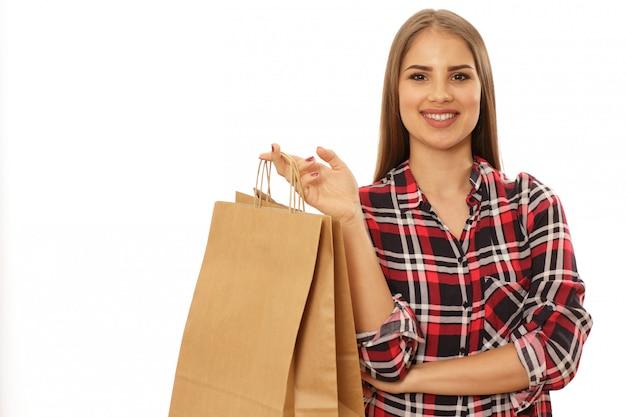 Feliz, charming, mulher, com, bolsas para compras