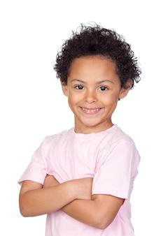 Feliz, criança africana, com, braços cruzaram, isolado, branco, fundo