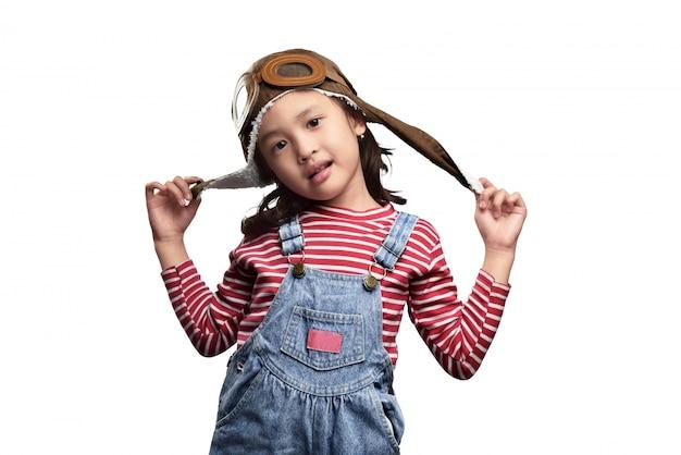 Feliz, criança asiática, com, aviador, chapéu, e, óculos proteção