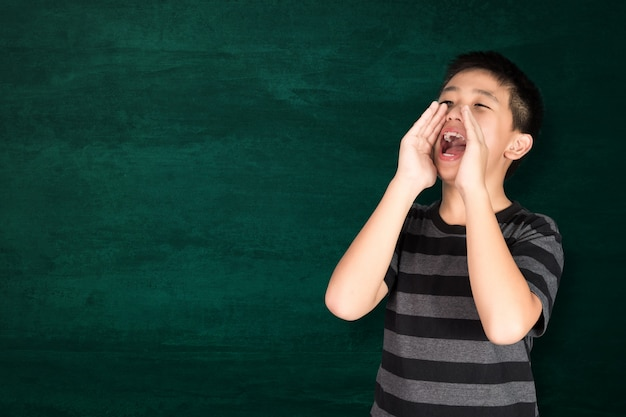 Feliz, criança asiática, sorrindo, ligado, vazio, verde, chalkboard