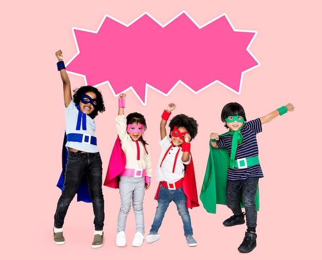Feliz, crianças, com, legal, superpowers
