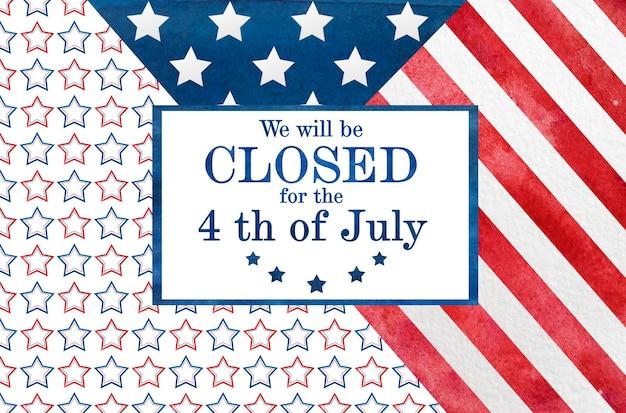 Feliz dia da independência. desenho da bandeira americana. conceito de feriado nacional. close up, vista superior, textura. parabéns para família, parentes, amigos e colegas