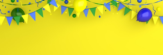 Feliz dia da independência do brasil fundo de decoração com bandeira de guirlanda de estamenha de balão