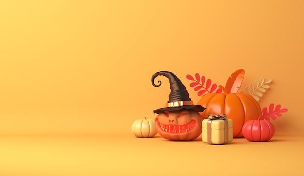 Feliz dia das bruxas com caixa de presente de abóbora de desenho animado em fundo laranja