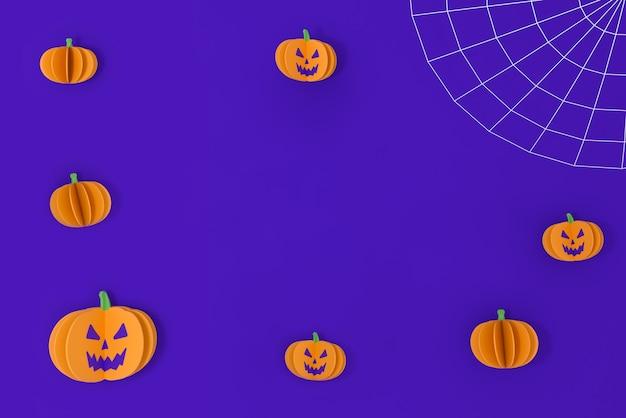 Feliz dia das bruxas em fundo roxo com espaço para texto. teia de aranha e abóboras em papel. renderização 3d.