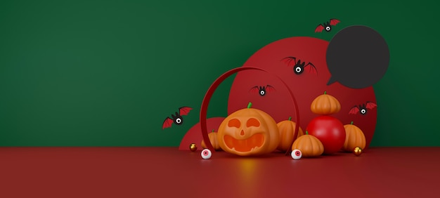 Feliz dia das bruxas, espaço de fundo para ilustração 3d de texto