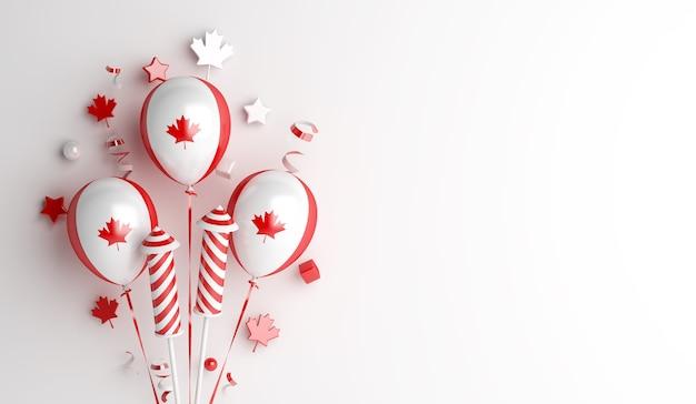 Feliz dia do canadá, fundo de decoração com folhas de bordo de fogos de artifício de balão
