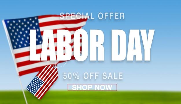 Feliz dia do trabalho banner, patriótico americano