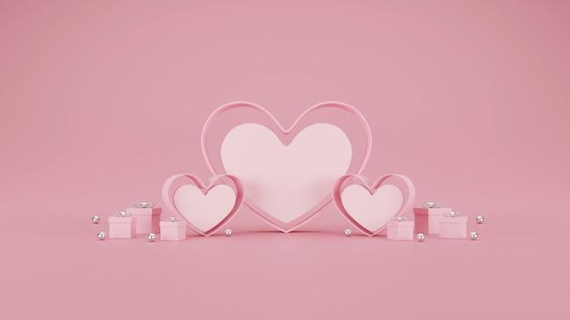 Feliz dia dos namorados banner. coração, presente e caixa em fundo rosa. espaço para texto. ilustração 3d