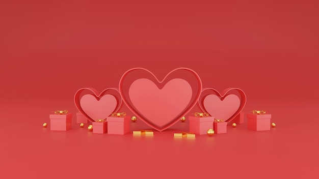 Feliz dia dos namorados banner. coração, presente e caixa em fundo vermelho. espaço para texto. ilustração 3d