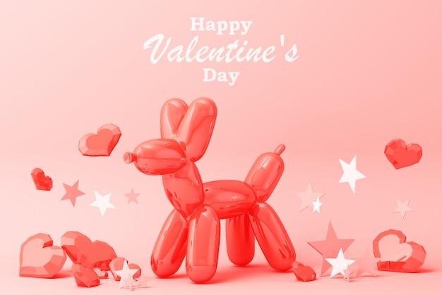 Feliz dia dos namorados cartão com cachorro balão, corações e estrelas decoração renderização em 3d