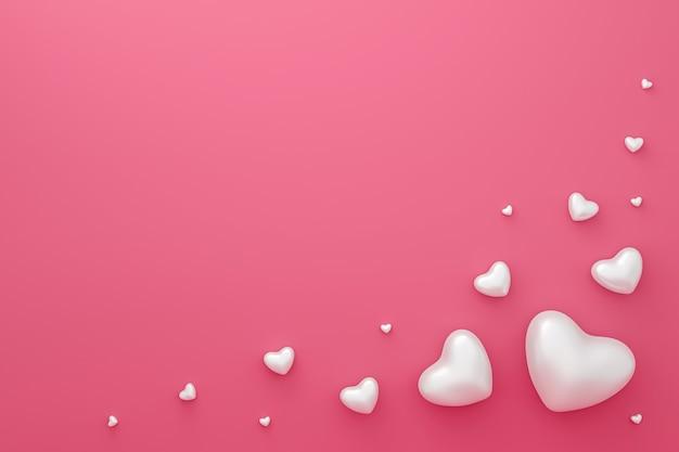 Feliz dia dos namorados com corações brancos abstratos. renderização em 3d.