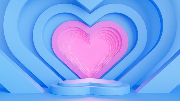 Feliz dia dos namorados com formato de coração em pódio azul para apresentação do produto e composição 3d.