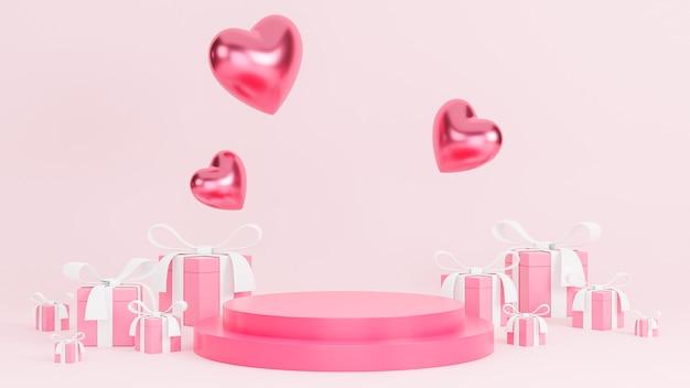 Feliz dia dos namorados com pódio para apresentação de produtos e corações e objetos 3d de caixa de presente no fundo rosa.