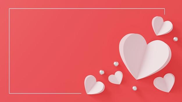 Feliz dia dos namorados conceito. coração de papel e bola de prata em rosa.