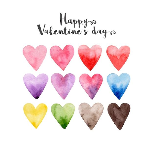 Feliz dia dos namorados! conjunto de corações rosa, vermelho, roxo, amarelo, violeta, azul, cinza, verde, preto em aquarela de mão desenhada.