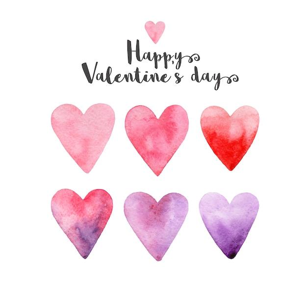 Feliz dia dos namorados! conjunto de corações rosa, vermelho, roxo, violeta aquarela desenhada mão.
