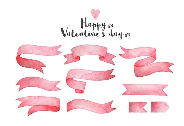 Feliz dia dos namorados! conjunto de fitas rosa aquarela mão desenhada.