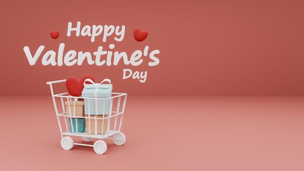 Feliz dia dos namorados de coração e caixa de presente no carrinho de compras com texto 3d em fundo rosa pastel. renderização 3d