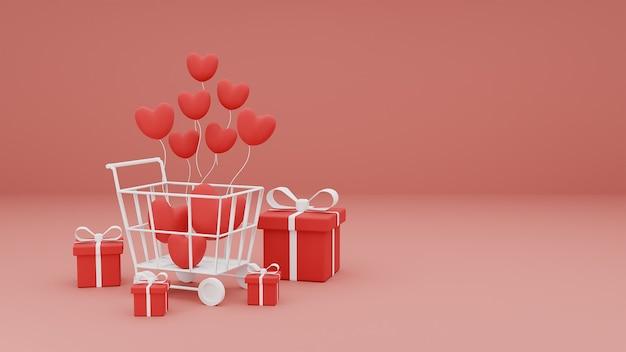 Feliz dia dos namorados de corações 3d no carrinho de compras com balões de coração e caixa de presente em fundo rosa pastel. renderização 3d