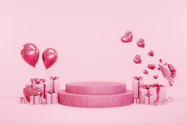 Feliz dia dos namorados, exibição de produtos de decoração surpresa ou pedestal de vitrine