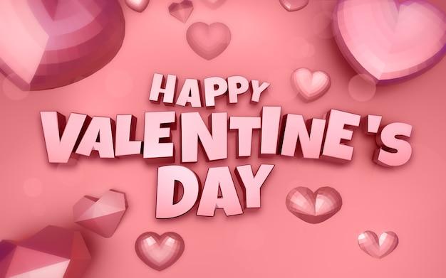 Feliz dia dos namorados ilustração 3d com coração de diamante e texto 3d