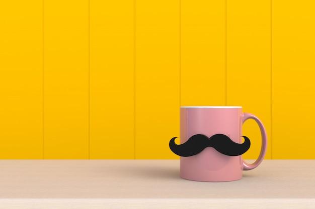 Feliz dia dos pais conceito, close-up de café com bigode em fundo amarelo de madeira