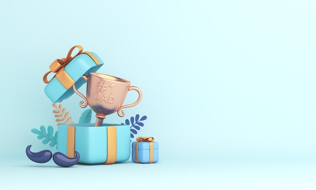 Feliz dia dos pais decoração de fundo com caixa de presente de troféu