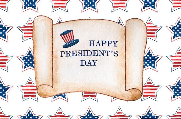 Feliz dia dos presidentes. inscrição de congratulações pelo feriado. closeup, sem pessoas. parabéns para família, parentes, amigos e colegas