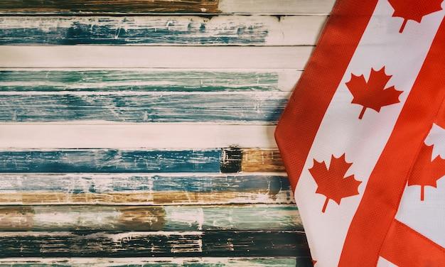 Feliz, dia victoria, canadense, bandeiras, rústico, fundo